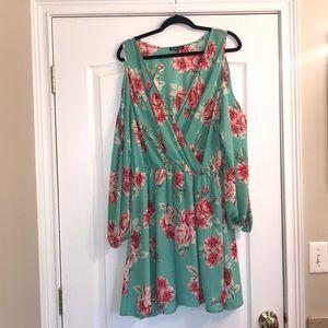 Cold shoulder long sleeve floral dress